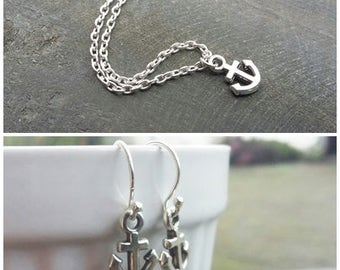 Easter Gift, jewelry set, maritime jewelry, maritime earrings, maritime earring, anchor earrings silver, silver anchor earrings