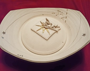 Mid Century Modern Pottery Art Bowl with Lid- Erotica