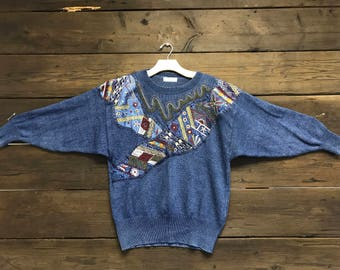 Vintage 80s Embroidered Sweater