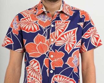 Mens 100% Cotton Short Sleeve Slim Fit Shirt Blue Red Floral Print