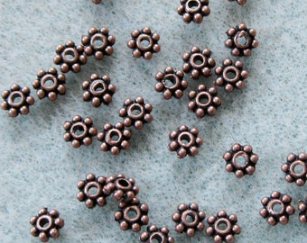 Antique Copper Daisy Spacer Bead Mix 4.3mm Lead Free 820