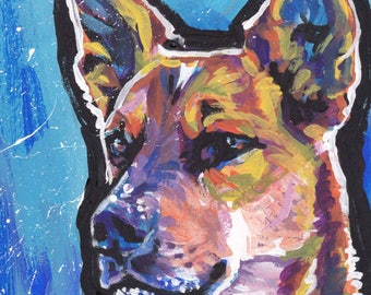 Australian Cattle Dog print of pop art painting RED HEELER bright colors 8.5x11""