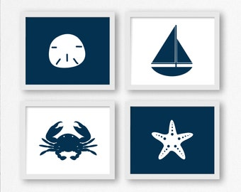 Nautical Digital Prints in Navy Blue: Sailboat, Sand Dollar, Crab, Starfish Printable Wall Art, Nautical Nursery, Kid's Room Decor, Beach