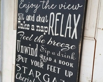Patio Rules Sign primitive Typography Word Art  12x24