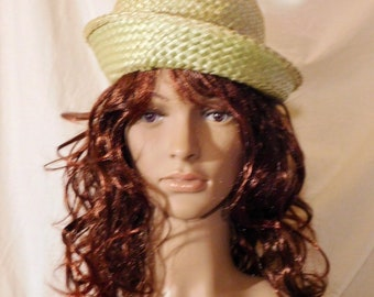 Vintage Straw Hat Avocado Green Straw Hat Grossgrain Ribbon Gold Buckle Straw Tilt Hat