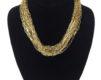 vintage gold link necklace / Francesca Visconti / yellow gold / statement necklace / costume jewelry / vintage necklace / vintage jewelry