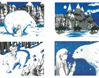 The Girl and The Bear -  Risograph Prints, Set of 4 - LIMITED EDITION