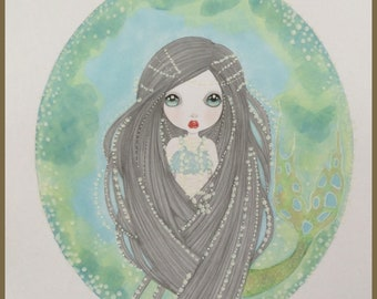 Original art pearly mermaid fantasy lowbrow art
