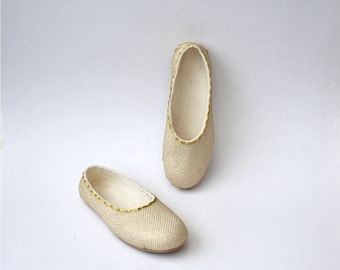 Summer Sale Handmade white softest merino wool felted slippers with gold net decoration - 8 US women size