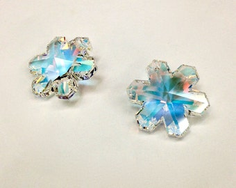 1 Piece Swarovski Snowflake Pendant in Crystal AB with a Blue Tint, Article 6704, 20mm