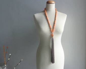 Orange brown tassel Statement necklace longer style, colorful necklace, tribal necklace