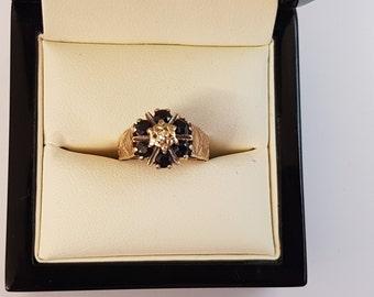 1979 9ct Yellow Gold Sapphire & Diamond Ring Size J