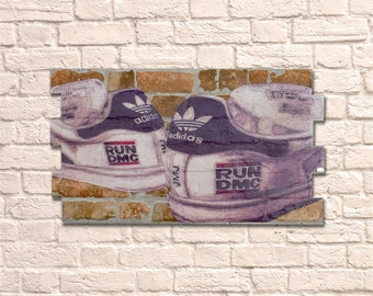 Industrial Adidas No Frame Brick Wall Graffiti Style Artwork. Art. Steampunk & 3D Ceramic Brick Panels. Wall Hanging Kit Supplied. UK MADE