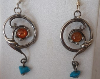Vintage Sterling Silver and Sunstone Free Form Pierced Earrings