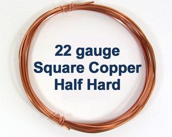 22ga HH Square Copper Wire - Choose Your Length