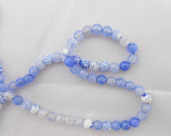 10 Agate beads shades of blue faceted 6 mm. (9076786)