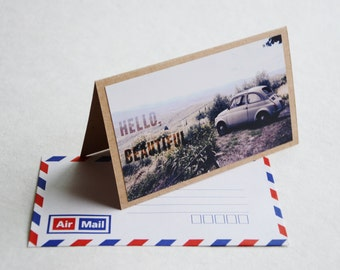 Hello Beautiful Greeting Card - Italy Travel Photography, Brown Card with Air Mail Envelope, Volkswagen Card, Tuscany Photography Print