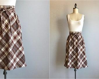 Vintage 70s Cotton Wrap Skirt / 1970s Bias Cut Madras Plaid Skirt / Brown White Patterned Midi Skirt