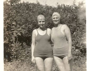"""Vintage Snapshot """"Shy Swimmers"""" Pretty Girls Modesty Panel Swimsuits Bathing Caps Found Vernacular  Photo"""