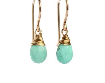 Sleeping beauty turquoise Earrings, Genuine turquoise Dangle Earrings, Pear Cut, December Birthstone: 14K Rose Gold Filled Sterling Silver