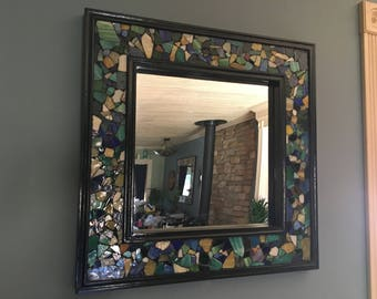Sea Glass Decorative Accent Wall Mirror 25 in. x 25 in.