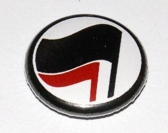 Anti-Fascist Flag Button Badge 25mm / 1 inch Politics Anti-Fascism