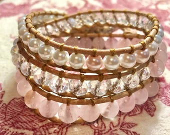 3 Wrap Leather Bracelet AAA Rose Quartz Crystals, Glass Pearls Sea Turtles FREE SHIPPING!
