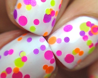 Pucker Up- Polka Dot-NEON-Custom-Blended Indie Glitter Nail Polish / Lacquer