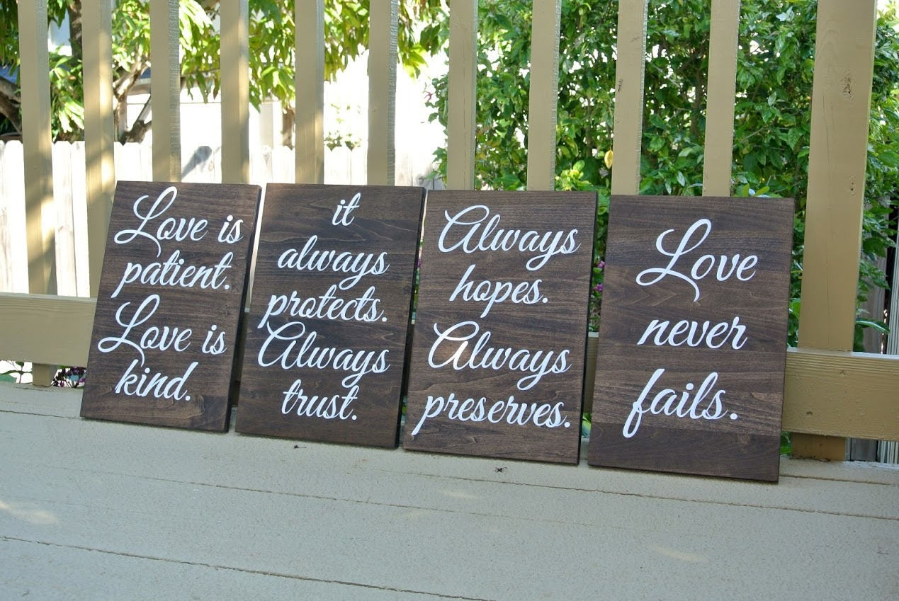Wedding Reading Love Is Patient: Wood Wedding Aisle Signs, Rustic Wooden Decor Wedding