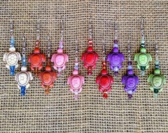 "Stone Turtles on Surgical Steel Earrings, Swarvoski Crystals, 2"" long, Nickle-Free, Assorted: Orange Lime Purple Pink Natural/White Red, Fun"
