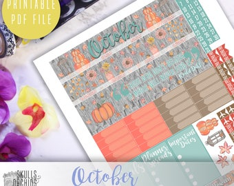 50% OFF HAPPY PLANNER October Monthly View Kit – Printable Planner Stickers