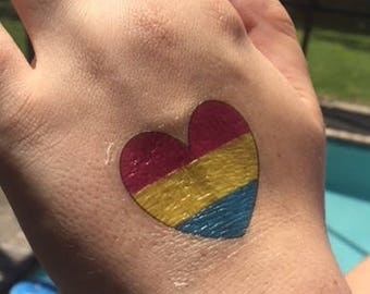 Pansexual Heart Temporary Tattoo