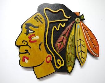 Wooden Chicago Blackhawks Logo