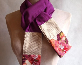 Japanese cotton patchwork scarf purple perfect for autumn