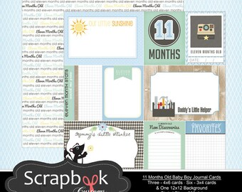 11 Months Old Journal Cards. Baby Boy Digital Scrapbooking. Project Life. Instant Download.