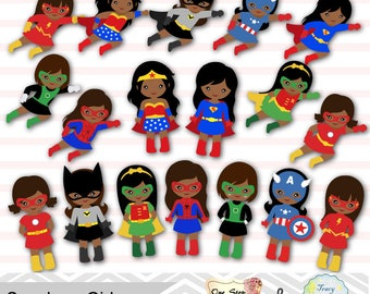 little girl superheros digital clip art girls superhero rh etsy com superhero clipart kids superhero clipart images
