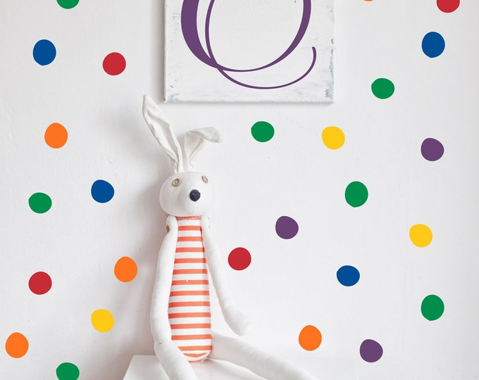 Rainbow Colored Dot Decals // Peel and Stick Dots // Nursery Wall Decals // Polka Dot Stickers // Playroom Art // Bedroom Wall Stickers