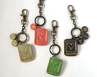 Mothers Day Personalized Keychain - Purse Charms  - Stamped NAME - Nana, yiayia, mommy, mom, grandma, aunt, mewmaw - HEARTS - Kids letters
