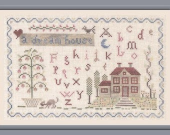 A Dream House – counted cross stitch chart to work in 8 colours of hand dyed yarn or DMC thread. House sampler.  ABC Sampler.