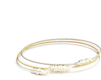 Bangle Bracelet Stack // Set of 3 Bracelets // Gold & Silver Bangle Bracelets // Eco-Friendly Jewelry / Guitar String Bracelets / Bridesmaid