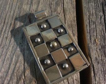 Checkerboard Pattern Pendant - Sterling Silver Pendant - 14K Gold Pendant
