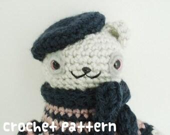 CROCHET PATTERN - Amigurumi Parisian Bear - Beatnik Poet Plushie