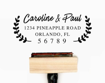 Custom Personalized Return Address Pre-Designed Rubber Stamp - Branding, Packaging, Invitations, Party, Wedding Favors - A021