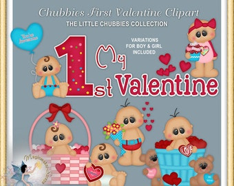 Baby Clipart, Chubbies First Valentine