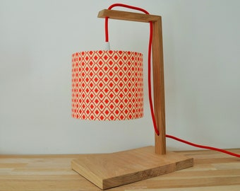 lamp  - oak wood - desk lamp - red
