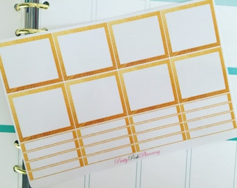 0164 Blank Gold Monthly boxes and headers reminders decorative planner stickers for Erin Condren & other planners, diaries etc