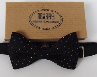 Black and Golden Polka Dots Pre-Tied Bow Tie, Bow Ties, Boys Bowties, Boys Bow Tie, Baby Bowtie