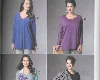 Misses Loose Pullover Batwing Tops, Sizes Xsm Thru Med, New Butterick Pattern 6290