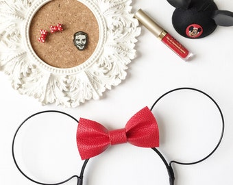 RED TEXTURED (Faux) Leather Bow Wire Ears