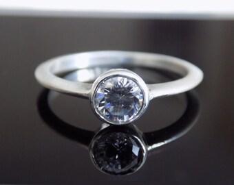 5mm Round White Sapphire Bezel Set Ring